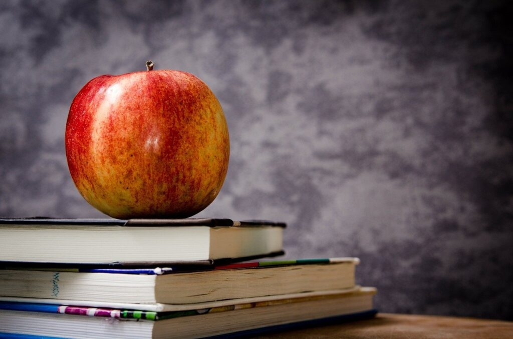 apple, books, still life