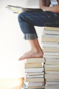 books, feet, legs