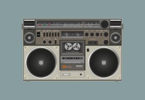 radio cassette, speaker, sound