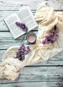 book, lilac, flowers