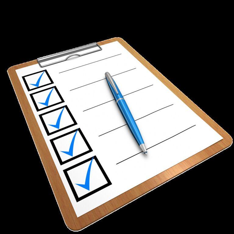 checklist, clipboard, questionnaire